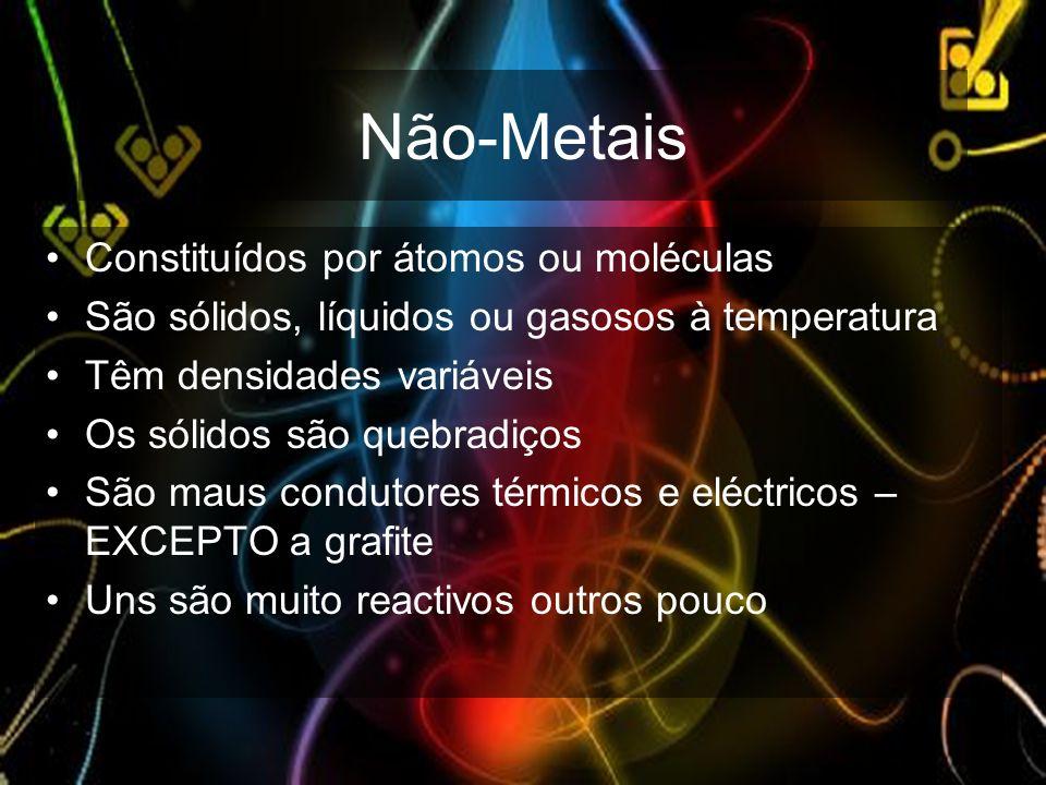Não-Metais Constituídos por átomos ou moléculas