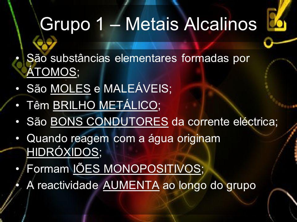 Grupo 1 – Metais Alcalinos