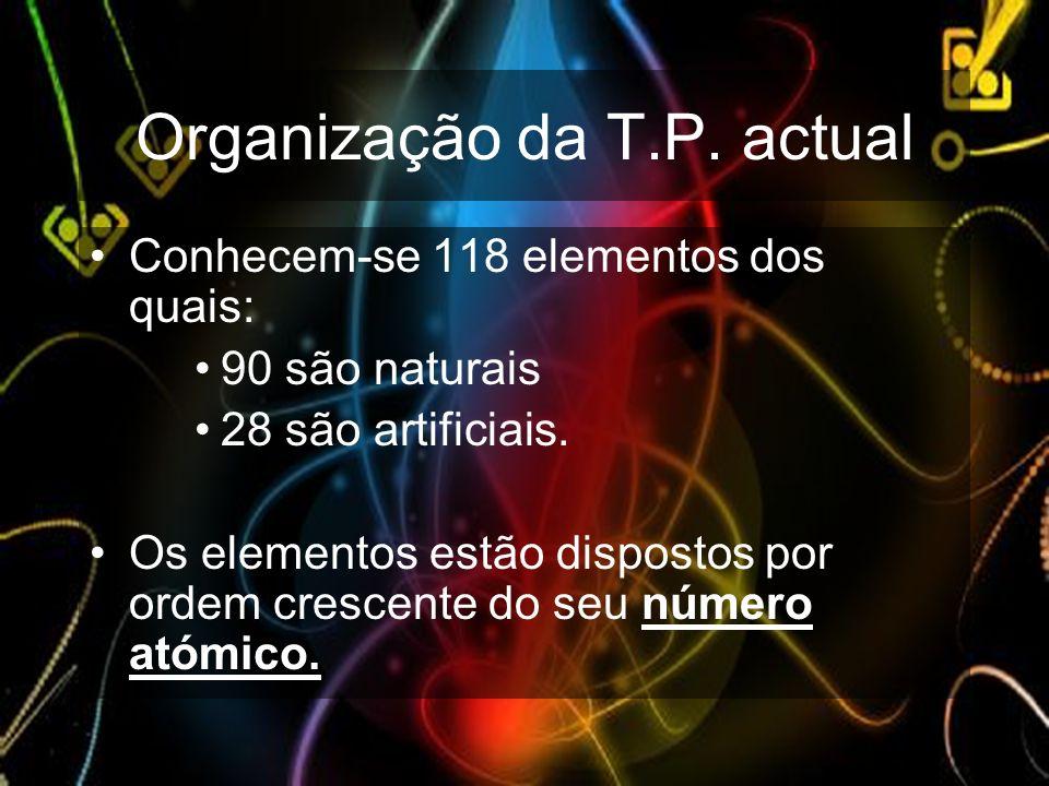 Organização da T.P. actual