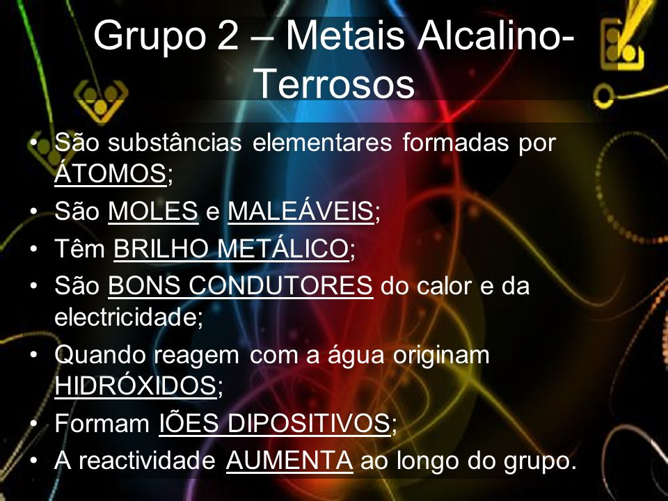 Grupo 2 – Metais Alcalino-Terrosos