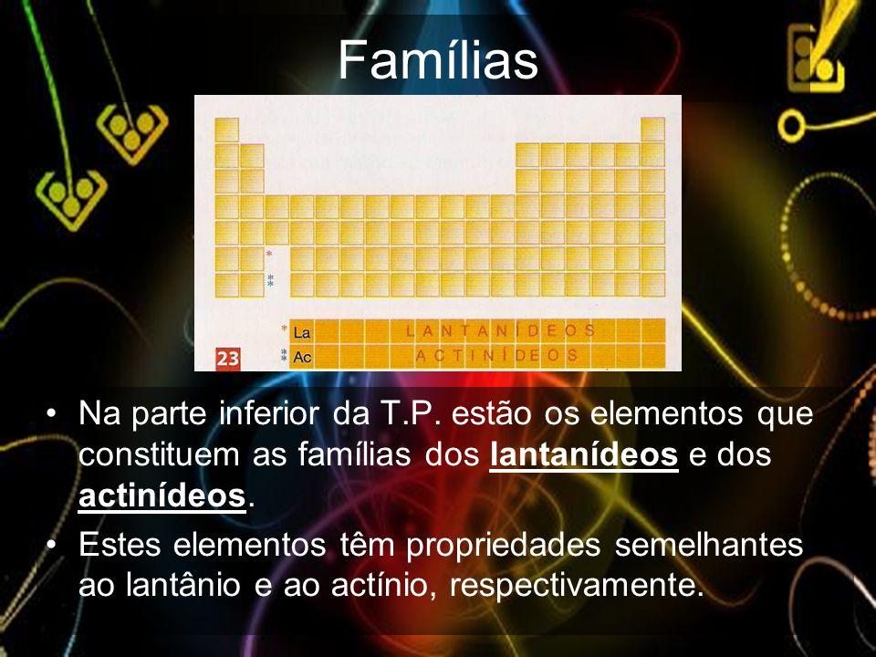 Famílias Na parte inferior da T.P. estão os elementos que constituem as famílias dos lantanídeos e dos actinídeos.