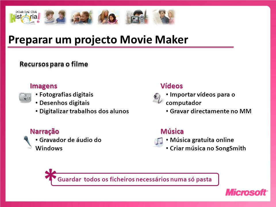 Preparar um projecto Movie Maker