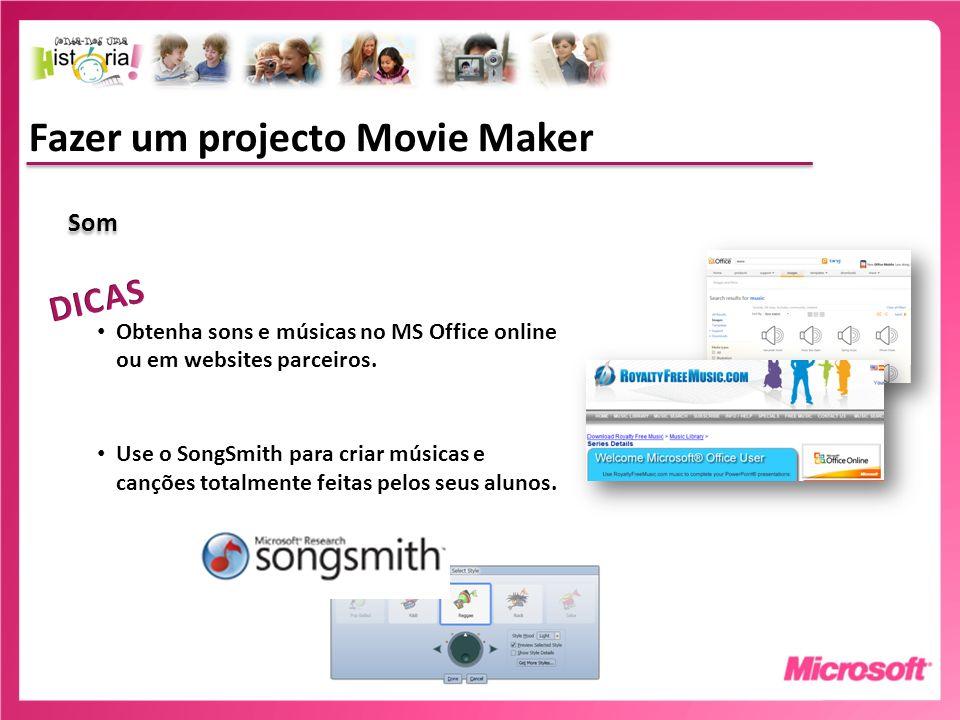 Fazer um projecto Movie Maker