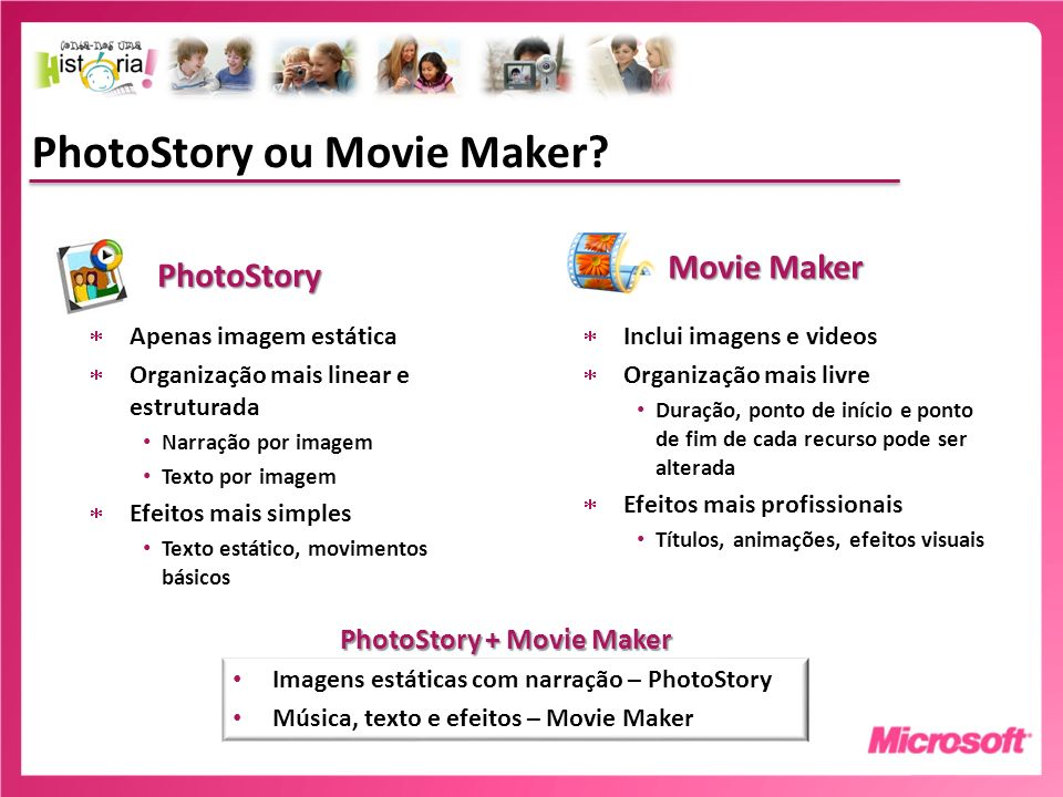 PhotoStory ou Movie Maker