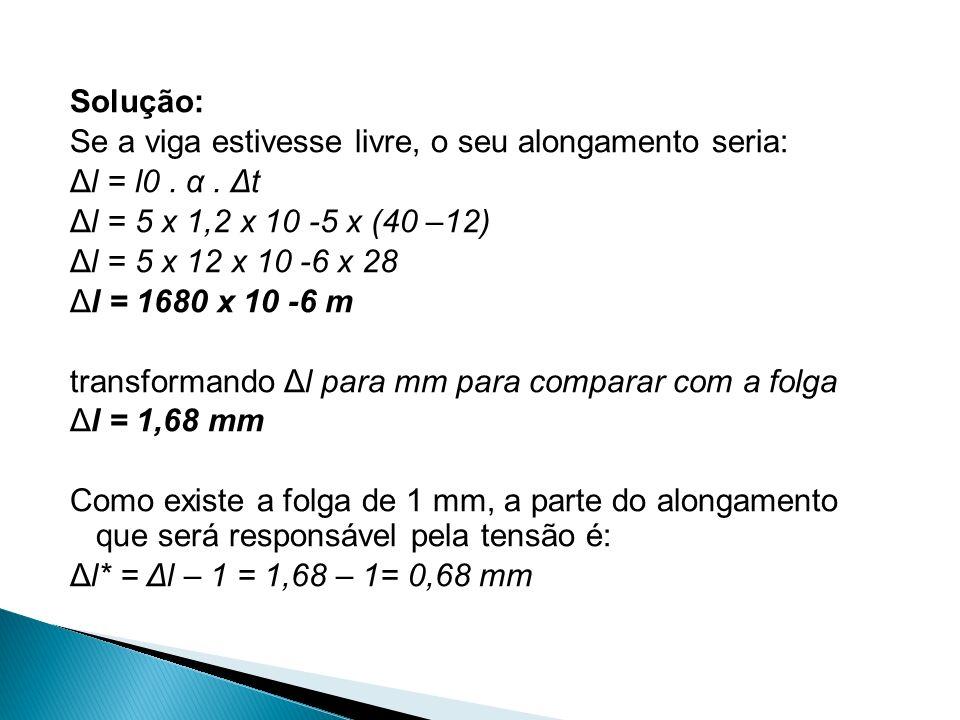 Solução: Se a viga estivesse livre, o seu alongamento seria: Δl = l0 .