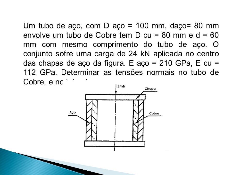 Um tubo de aço, com D aço = 100 mm, daço= 80 mm envolve um tubo de Cobre tem D cu = 80 mm e d = 60 mm com mesmo comprimento do tubo de aço.
