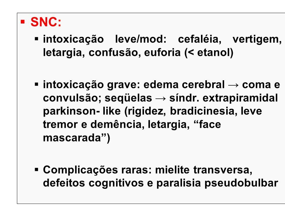 SNC: intoxicação leve/mod: cefaléia, vertigem, letargia, confusão, euforia (< etanol)