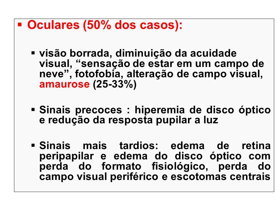 Oculares (50% dos casos):