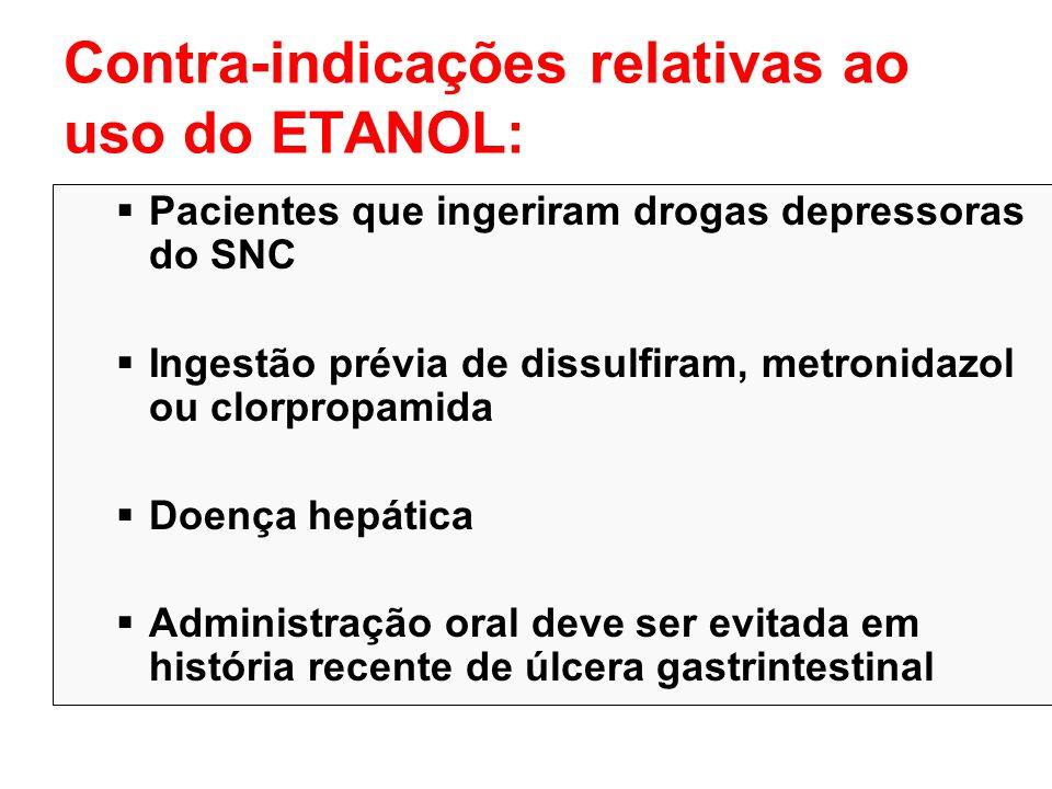 Contra-indicações relativas ao uso do ETANOL: