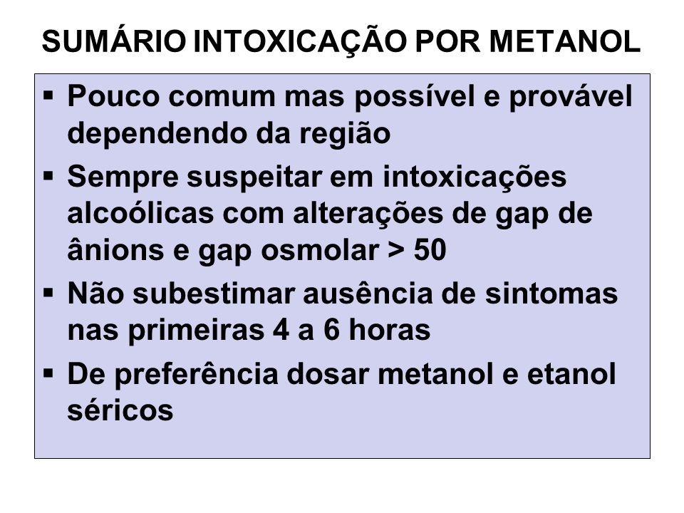 SUMÁRIO INTOXICAÇÃO POR METANOL