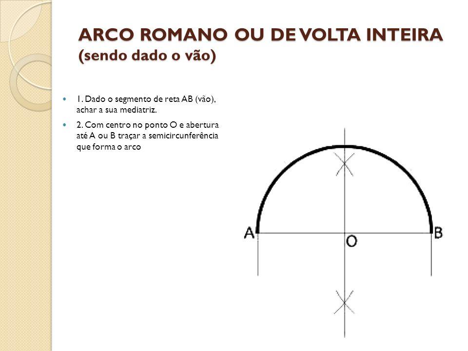 ARCO ROMANO OU DE VOLTA INTEIRA (sendo dado o vão)