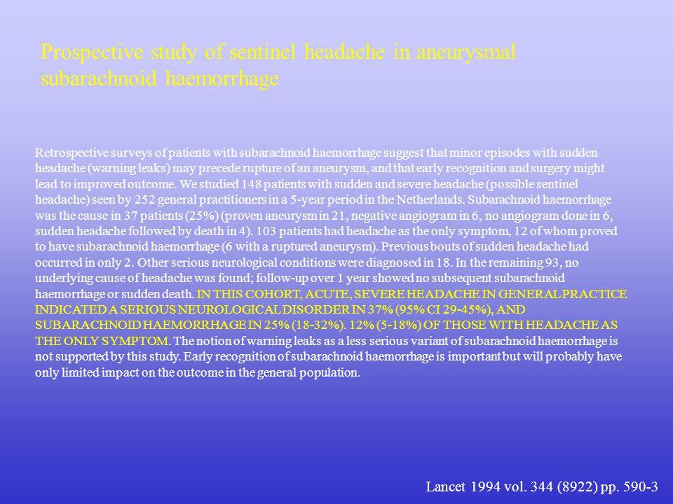 Prospective study of sentinel headache in aneurysmal subarachnoid haemorrhage