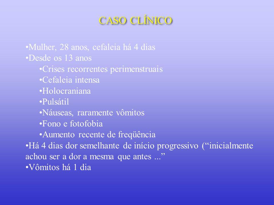 CASO CLÍNICO Mulher, 28 anos, cefaleia há 4 dias Desde os 13 anos