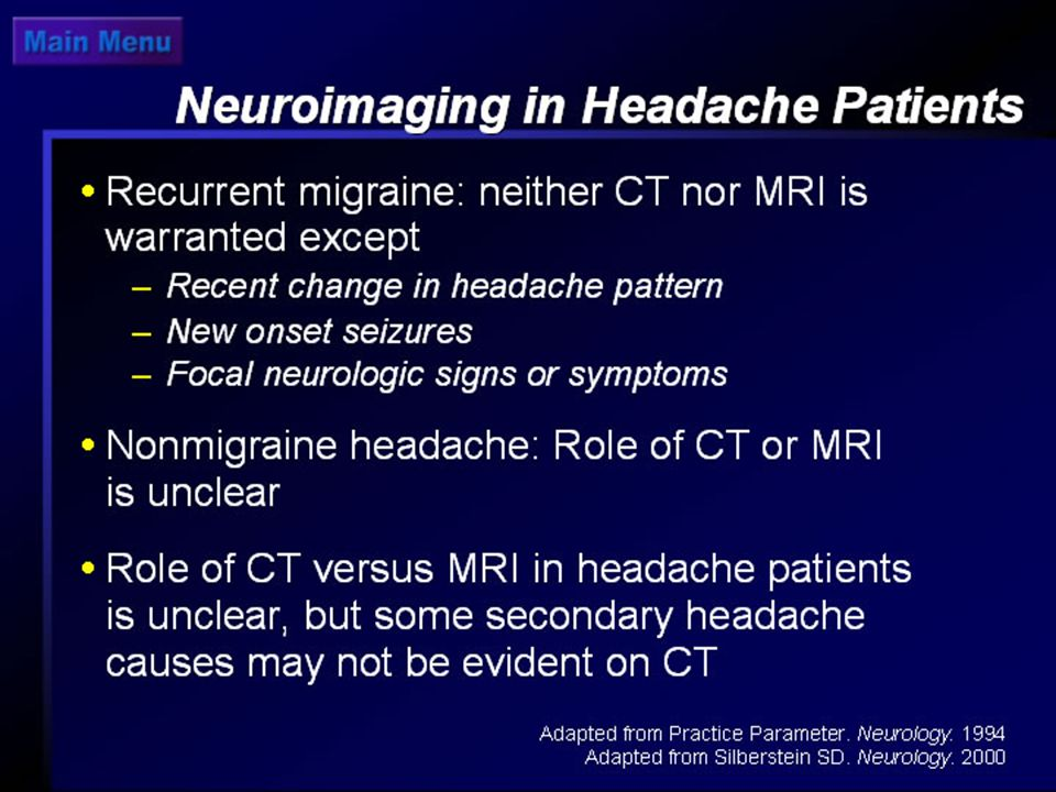 Neuroimaging in Headache Patients