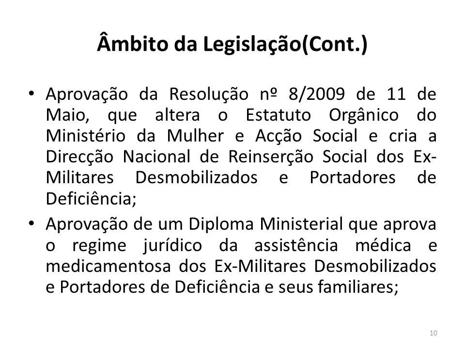 Âmbito da Legislação(Cont.)