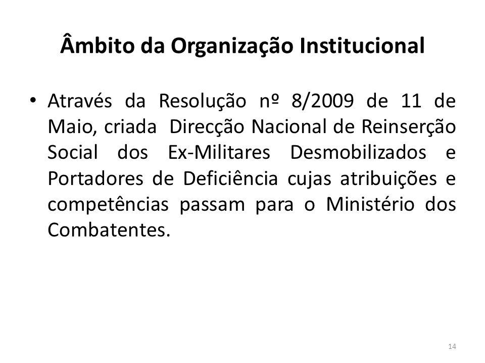 Âmbito da Organização Institucional