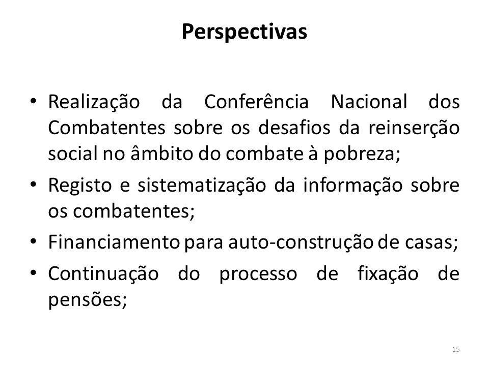 Perspectivas Realização da Conferência Nacional dos Combatentes sobre os desafios da reinserção social no âmbito do combate à pobreza;