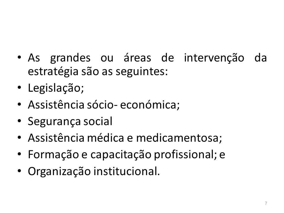 As grandes ou áreas de intervenção da estratégia são as seguintes: