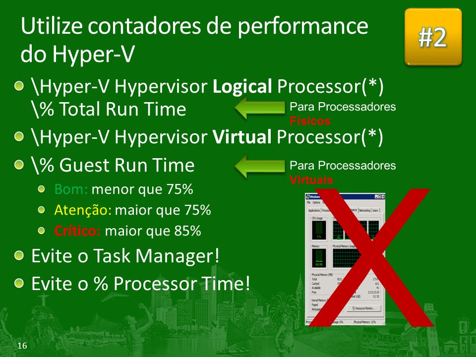 Utilize contadores de performance do Hyper-V