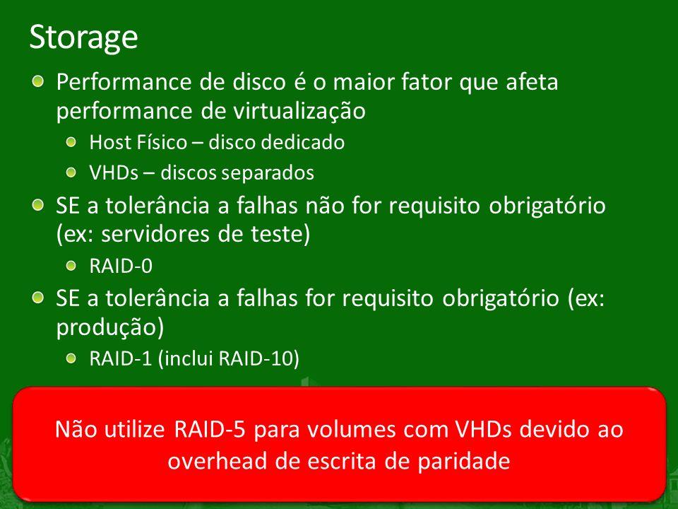 Storage Performance de disco é o maior fator que afeta performance de virtualização. Host Físico – disco dedicado.