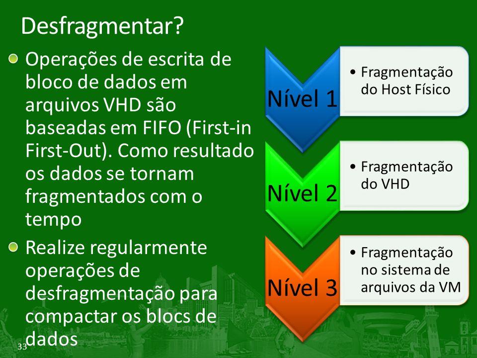 Desfragmentar Nível 1 Nível 2 Nível 3