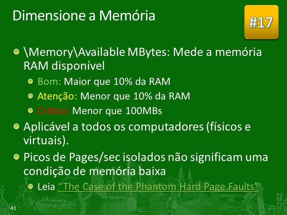 #17 Dimensione a Memória. \Memory\Available MBytes: Mede a memória RAM disponível. Bom: Maior que 10% da RAM.