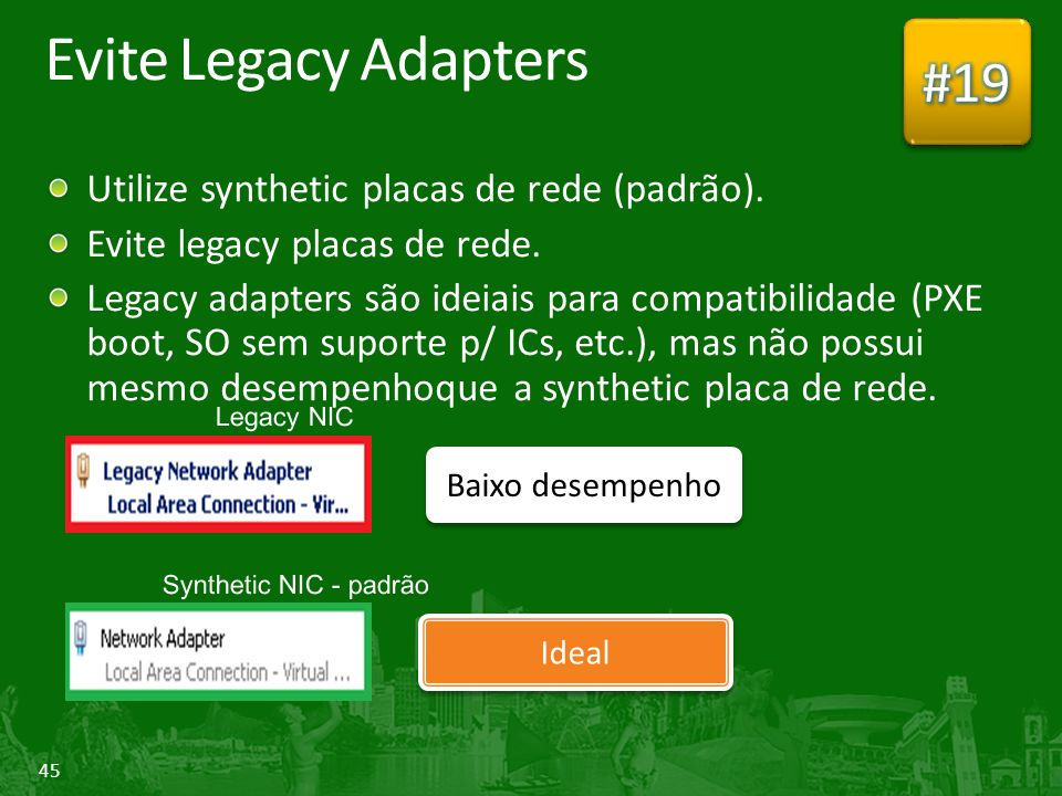 Evite Legacy Adapters #19 Utilize synthetic placas de rede (padrão).