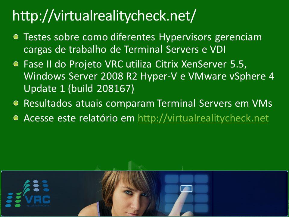 http://virtualrealitycheck.net/ Testes sobre como diferentes Hypervisors gerenciam cargas de trabalho de Terminal Servers e VDI.