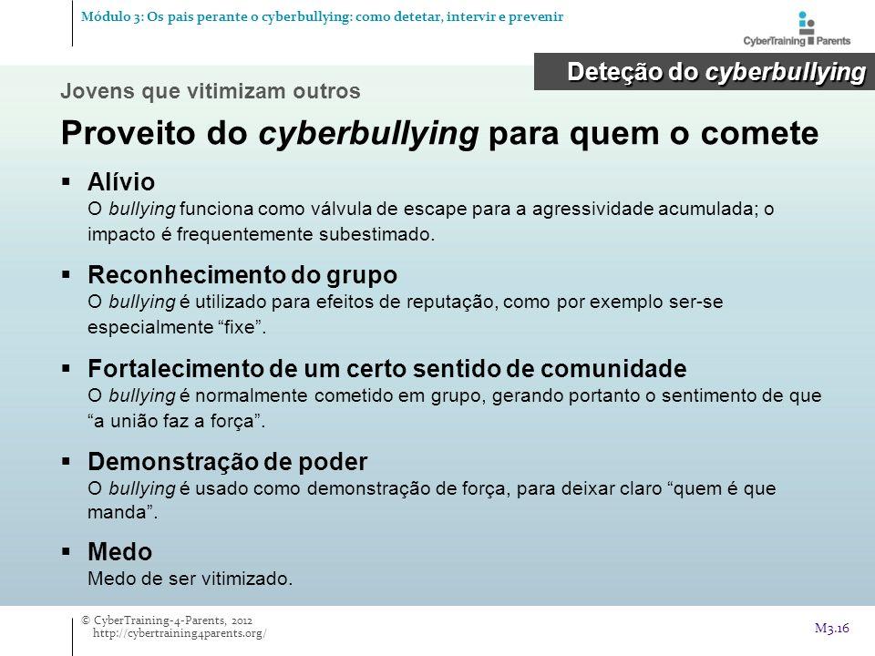 Proveito do cyberbullying para quem o comete