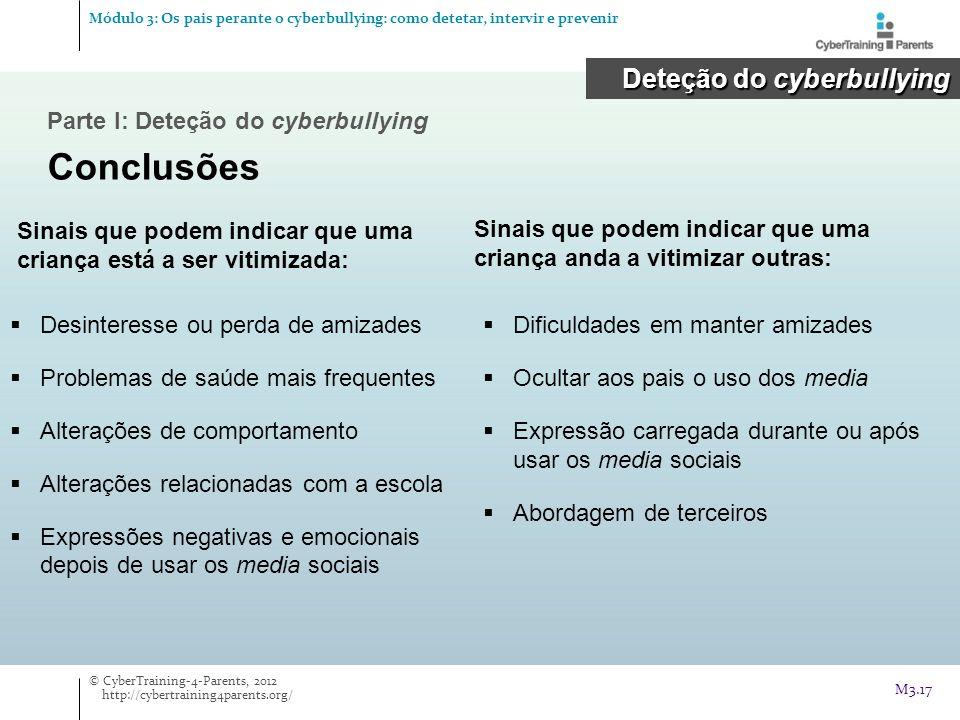 Conclusões Deteção do cyberbullying Parte I: Deteção do cyberbullying