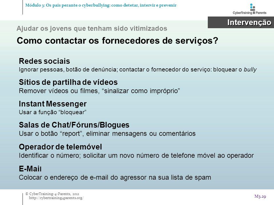 Como contactar os fornecedores de serviços
