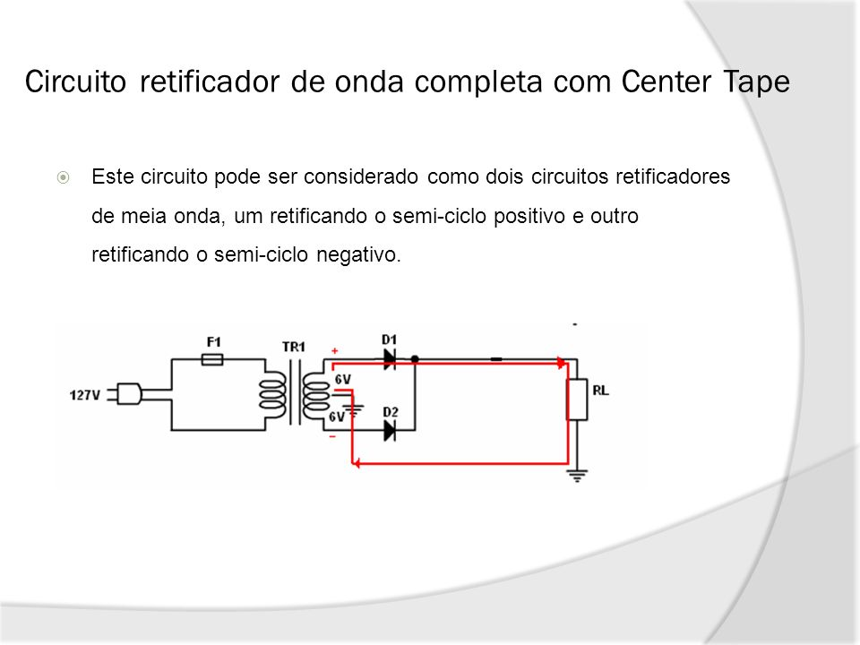 Circuito retificador de onda completa com Center Tape
