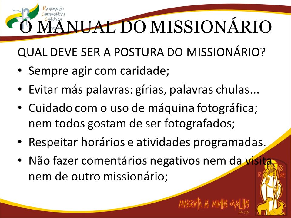 O MANUAL DO MISSIONÁRIO