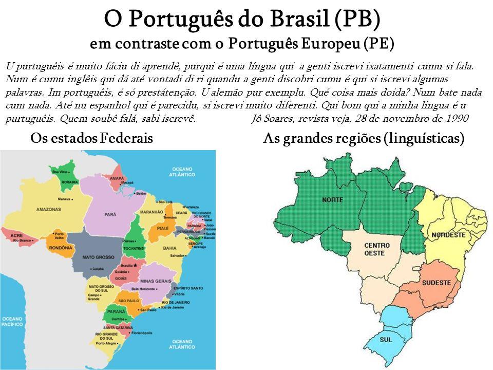 O Português do Brasil (PB) em contraste com o Português Europeu (PE)