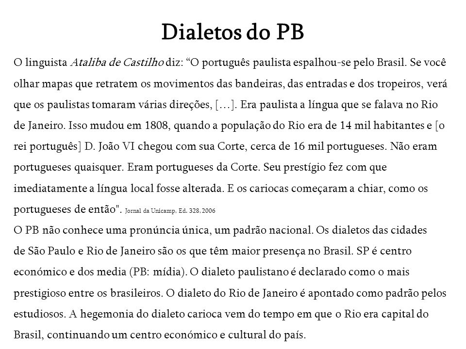Dialetos do PB