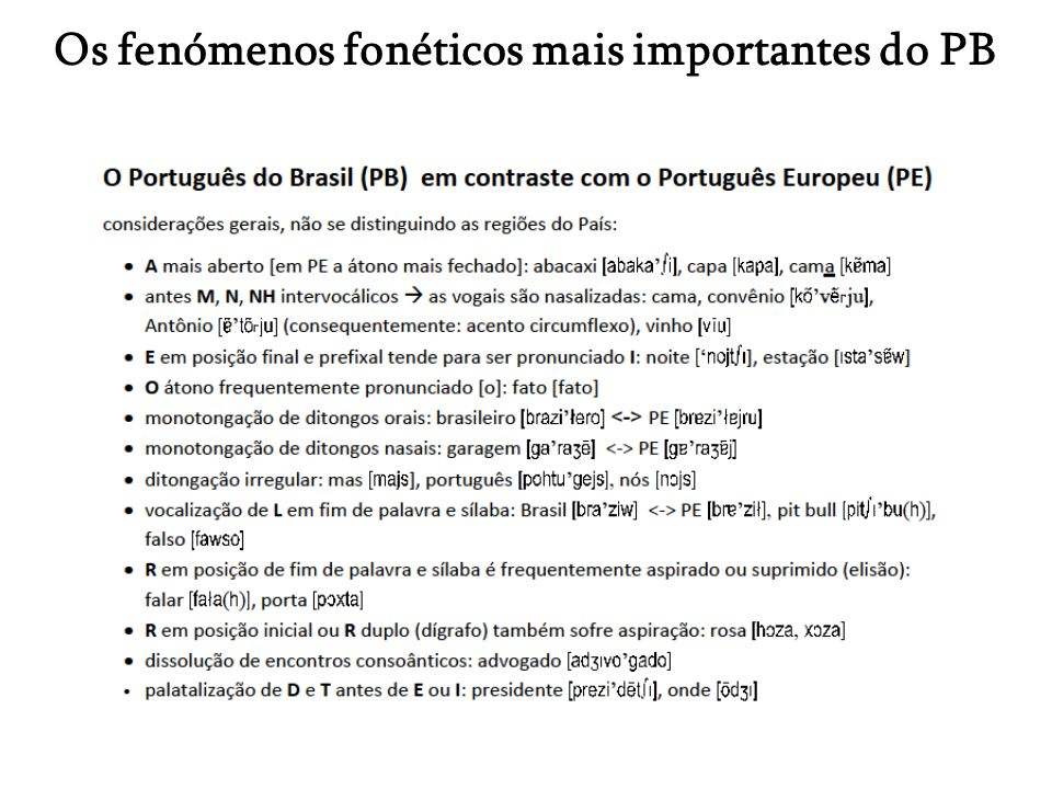 Os fenómenos fonéticos mais importantes do PB