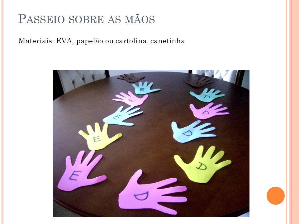 Passeio sobre as mãos Materiais: EVA, papelão ou cartolina, canetinha