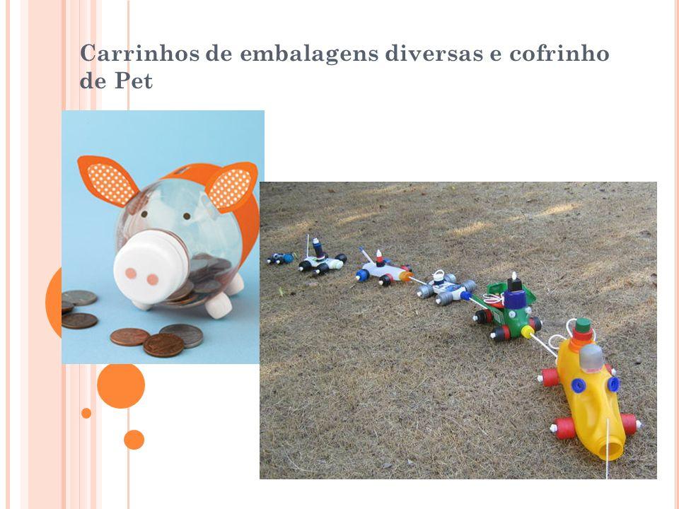Carrinhos de embalagens diversas e cofrinho de Pet