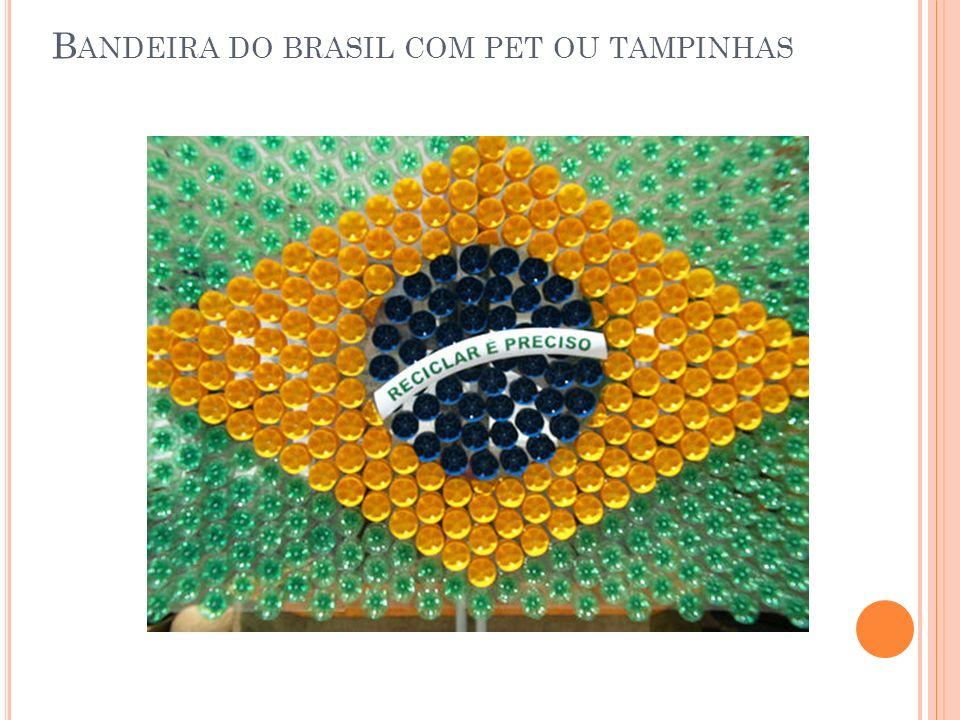 Bandeira do brasil com pet ou tampinhas