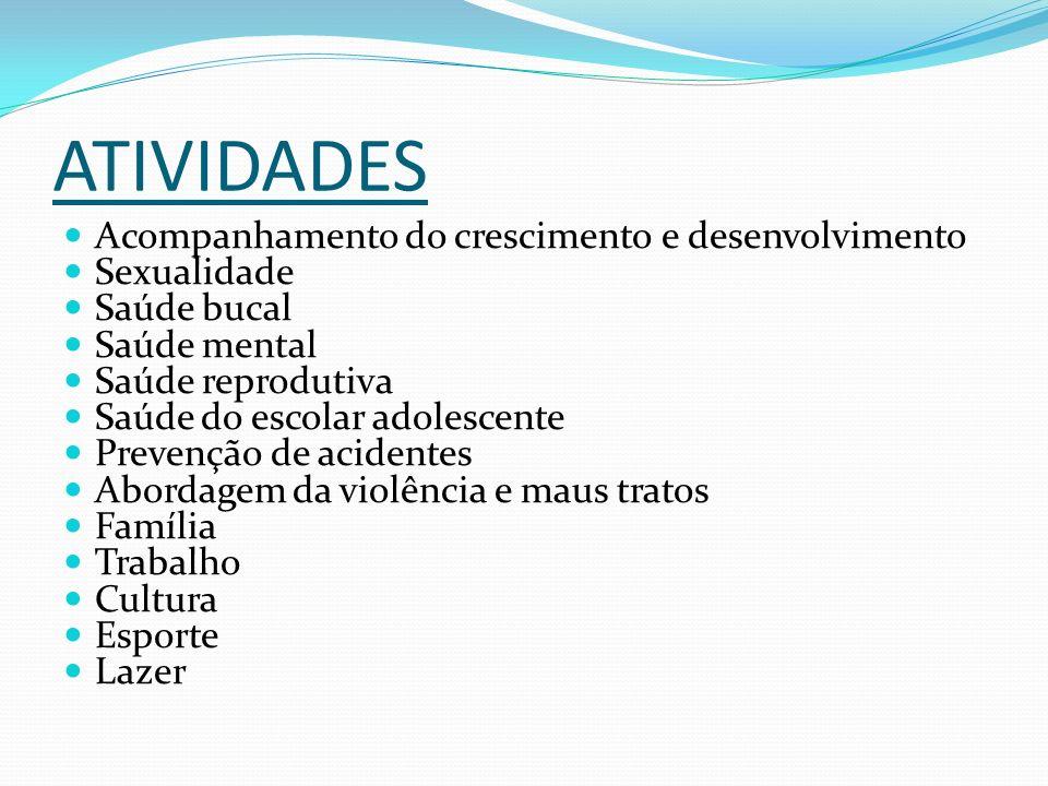 ATIVIDADES Acompanhamento do crescimento e desenvolvimento Sexualidade