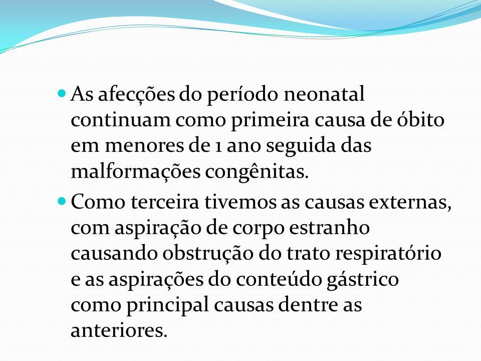 As afecções do período neonatal continuam como primeira causa de óbito em menores de 1 ano seguida das malformações congênitas.