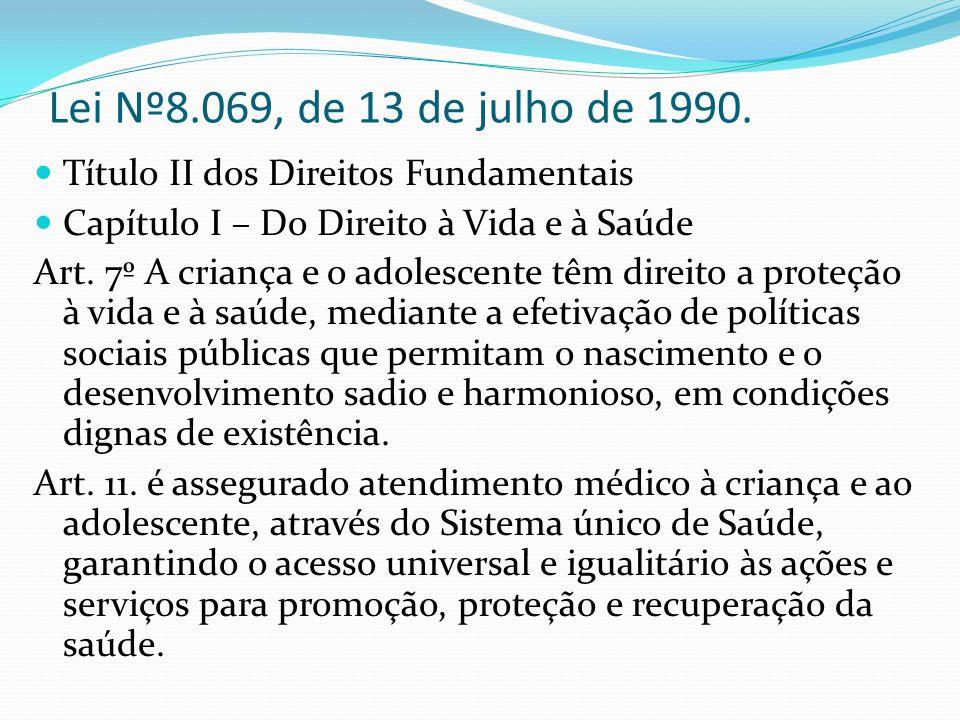 Lei Nº8.069, de 13 de julho de 1990. Título II dos Direitos Fundamentais. Capítulo I – Do Direito à Vida e à Saúde.