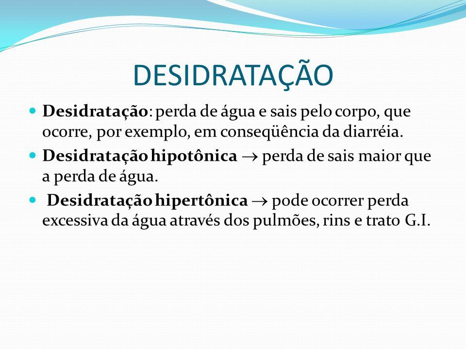 DESIDRATAÇÃO Desidratação: perda de água e sais pelo corpo, que ocorre, por exemplo, em conseqüência da diarréia.