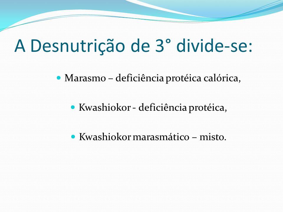 A Desnutrição de 3° divide-se:
