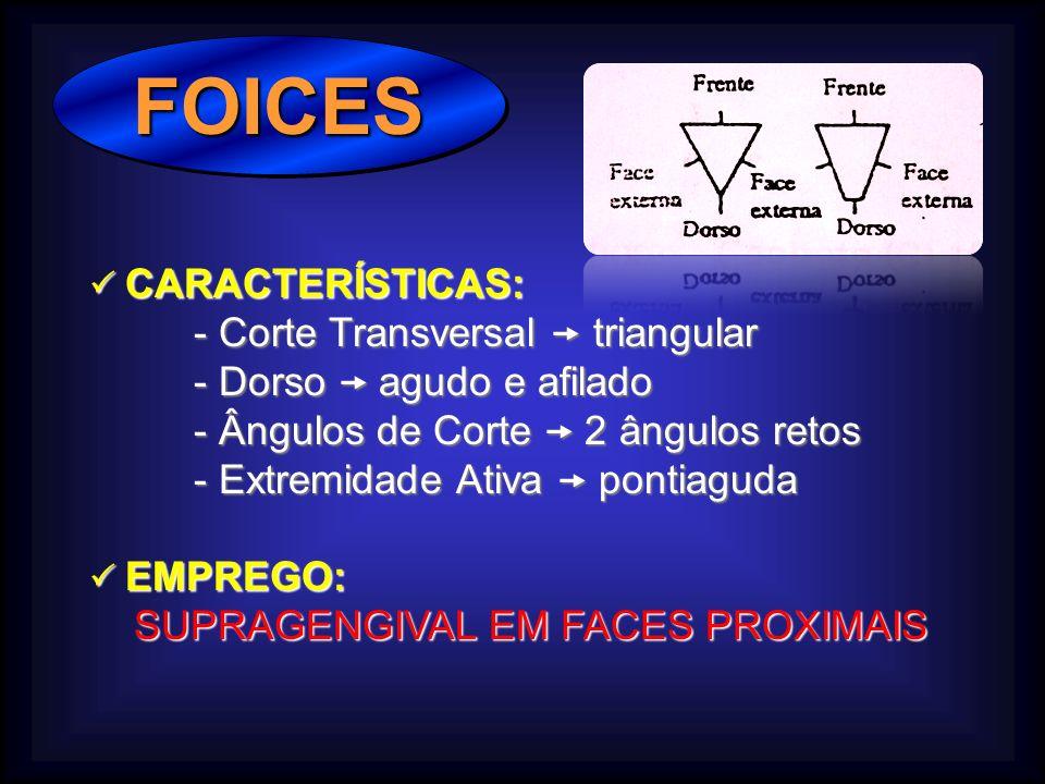 FOICES - Corte Transversal  triangular - Dorso  agudo e afilado