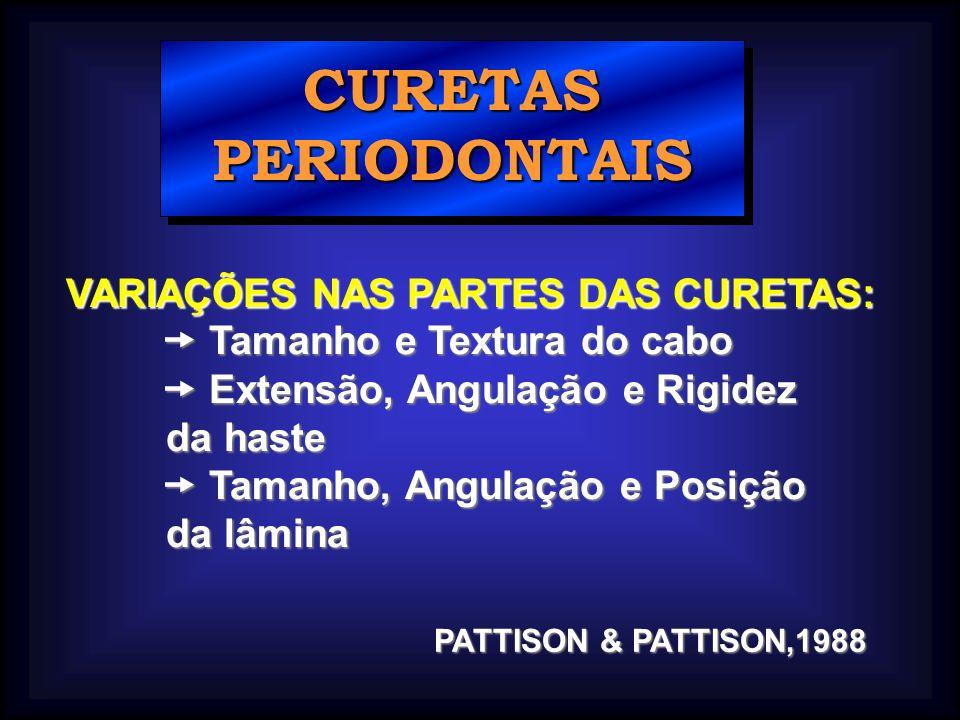 CURETAS PERIODONTAIS VARIAÇÕES NAS PARTES DAS CURETAS: