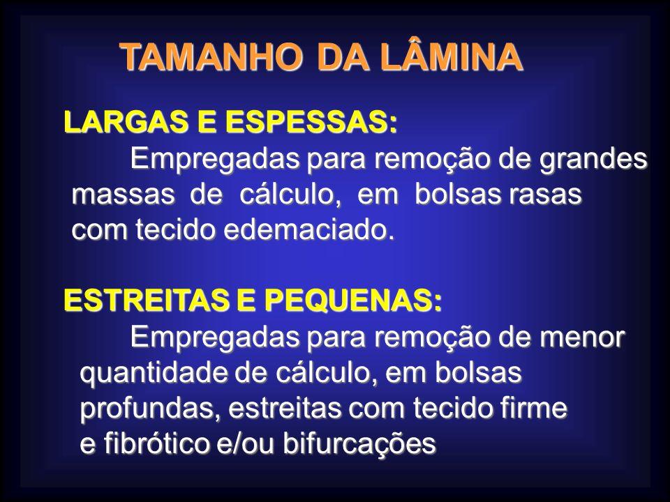 TAMANHO DA LÂMINA LARGAS E ESPESSAS: