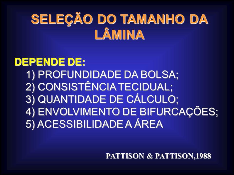 SELEÇÃO DO TAMANHO DA LÂMINA