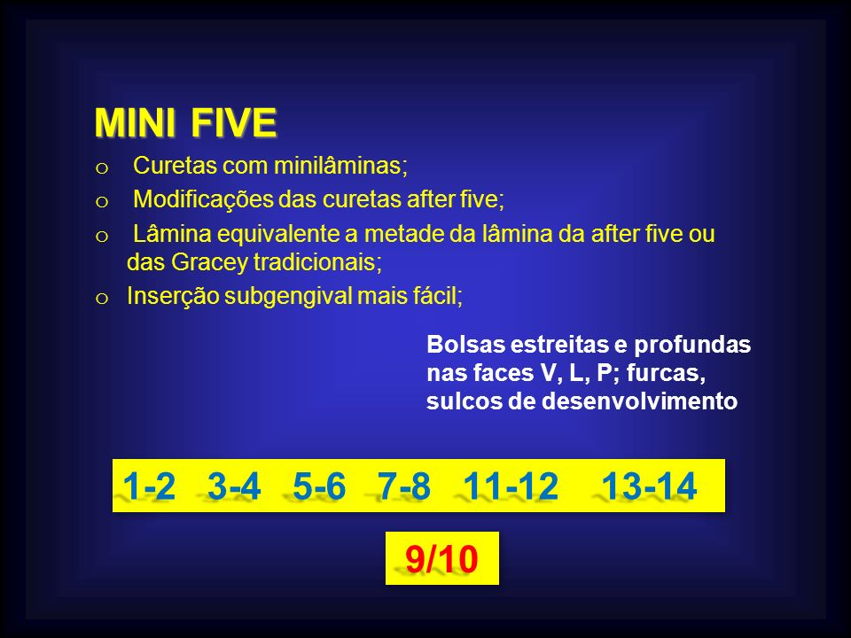 MINI FIVE 1-2 3-4 5-6 7-8 11-12 13-14 9/10 Curetas com minilâminas;