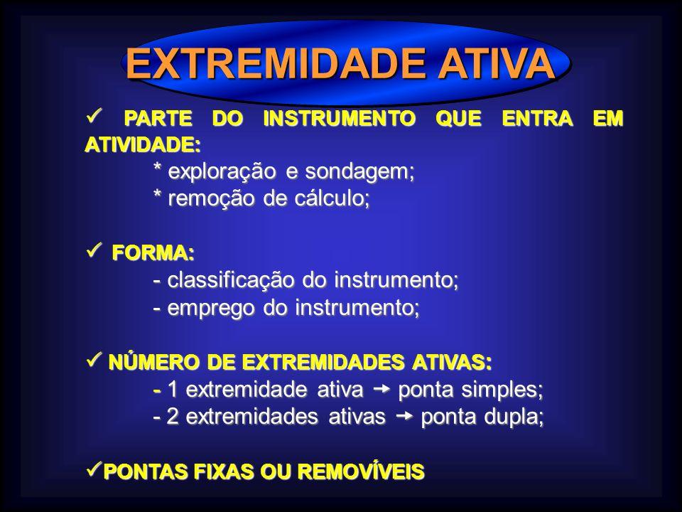 EXTREMIDADE ATIVA  PARTE DO INSTRUMENTO QUE ENTRA EM ATIVIDADE:
